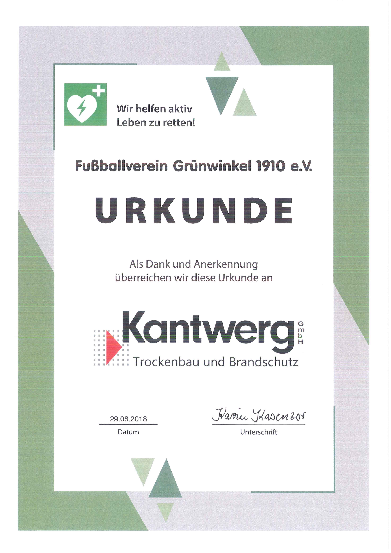 Urkunde des FV Grünwinkel