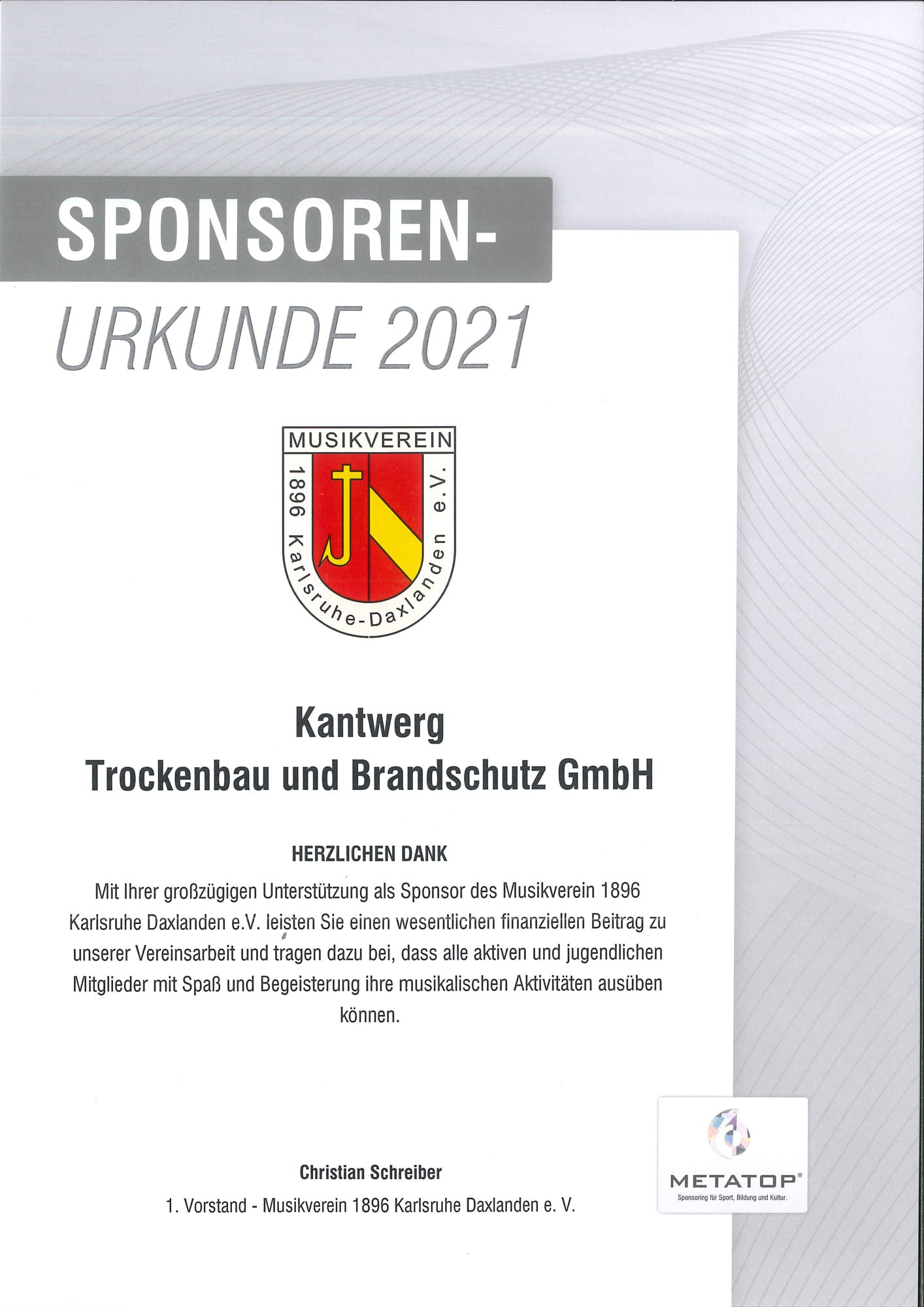 Sponsorenurkunde Musikverein 1896 Karlsruhe Daxlanden e.V.